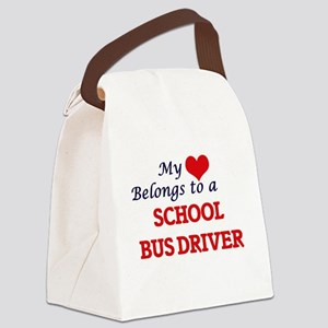 My heart belongs to a School Bus Canvas Lunch Bag