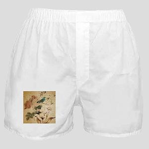 teal bird vintage roses swirls botani Boxer Shorts