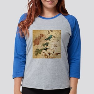 teal bird vintage roses swirls Long Sleeve T-Shirt