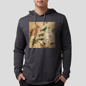 teal bird vintage roses swirls Long Sleeve T-Shirt