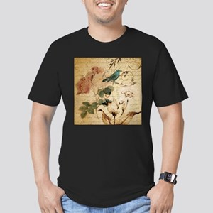 teal bird vintage roses swirls botanical a T-Shirt
