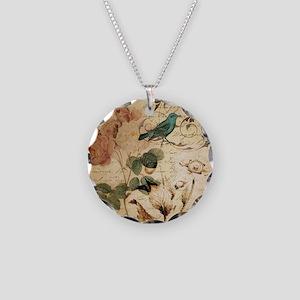 teal bird vintage roses swir Necklace Circle Charm