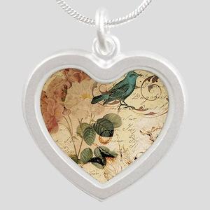teal bird vintage roses sw Necklaces