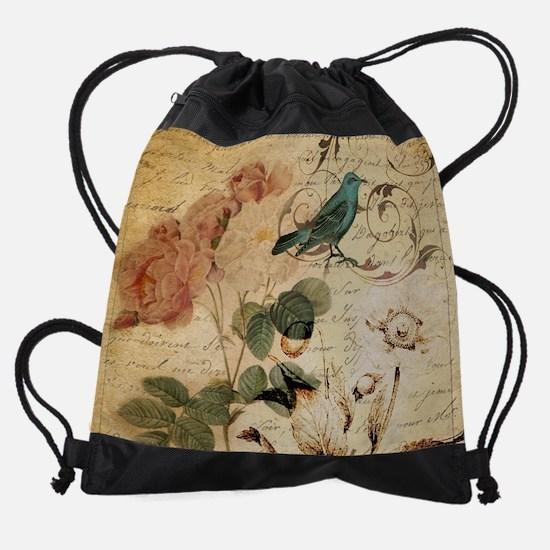 teal bird vintage roses swirls bota Drawstring Bag