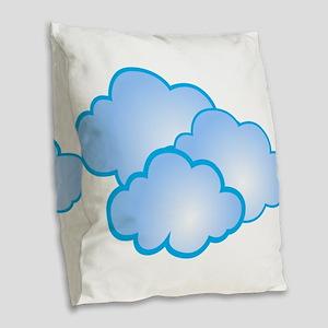 Clouds Burlap Throw Pillow