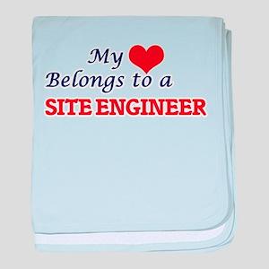 My heart belongs to a Site Engineer baby blanket