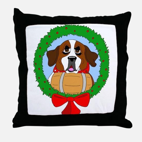Saint Bernard Dog Christmas Throw Pillow