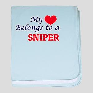 My heart belongs to a Sniper baby blanket