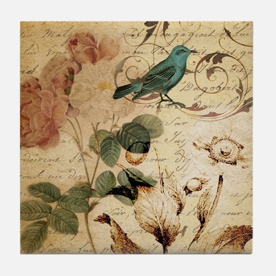 teal bird vintage roses botanical art Tile Coaster