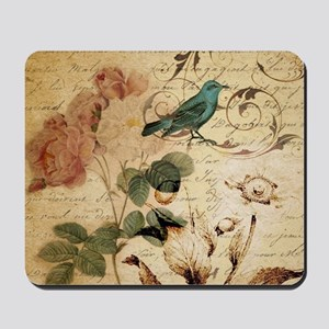 teal bird vintage roses botanical art Mousepad