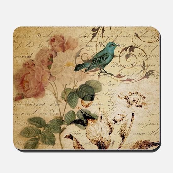 teal bird vintage roses botanical art Mousepad