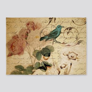 teal bird vintage roses botanical a 5'x7'Area Rug