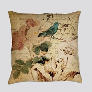 teal bird vintage roses botanical Everyday Pillow