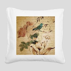 teal bird vintage roses botan Square Canvas Pillow
