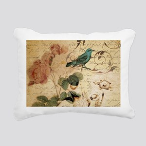 teal bird vintage roses Rectangular Canvas Pillow