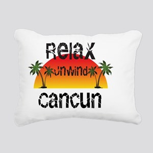 Relax, Unwind, Cancun Rectangular Canvas Pillow