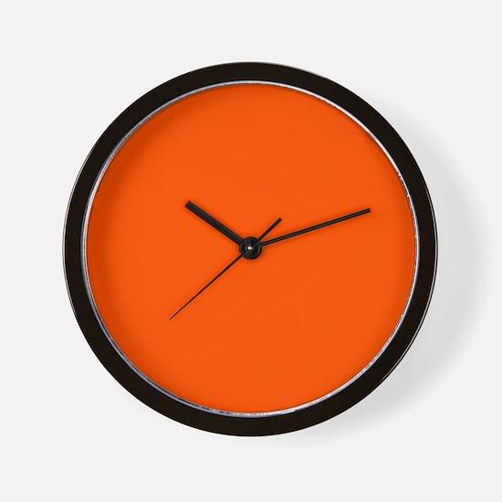 Neon Orange Solid Color Wall Clock