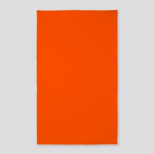 Neon Orange Solid Color Area Rug