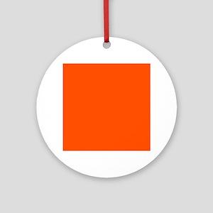 Neon Orange Solid Color Round Ornament