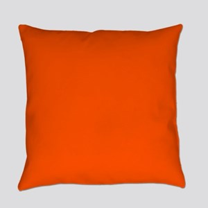 Neon Orange Solid Color Everyday Pillow