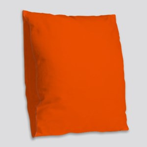Neon Orange Solid Color Burlap Throw Pillow