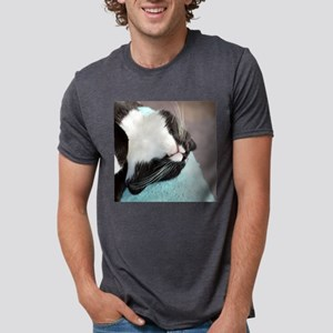 sleeping tuxedo cat Mens Tri-blend T-Shirt