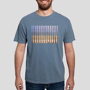 redwood lathe fence beach background Mens Comfort