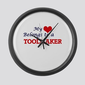 My heart belongs to a Toolmaker Large Wall Clock