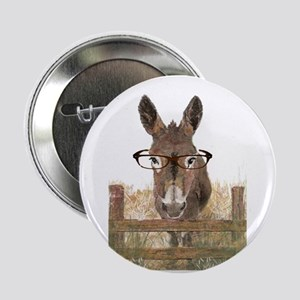 """Humorous Smart Ass Donkey Painting 2.25"""" Button"""