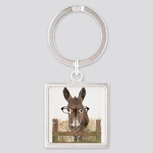 Humorous Smart Ass Donkey Painting Keychains