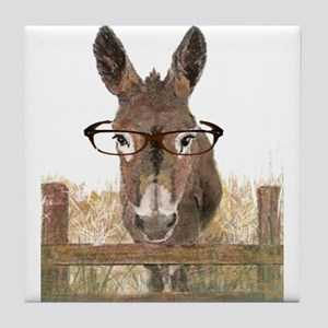 Humorous Smart Ass Donkey Painting Tile Coaster