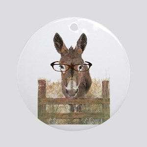 Humorous Smart Ass Donkey Painting Round Ornament
