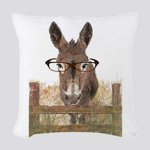 Humorous Smart Ass Donkey Pain Woven Throw Pillow