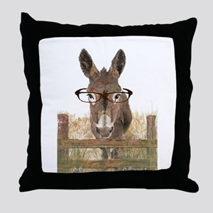 Humorous Smart Ass Donkey Painting Throw Pillow