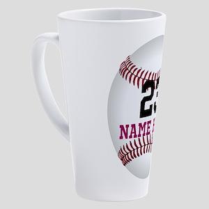 Customize Baseball Name Number 17 oz Latte Mug