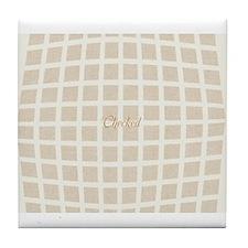 Cream Beige Checked Pattern Tile Coaster