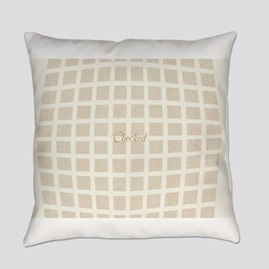 Cream Beige Checked Pattern Everyday Pillow