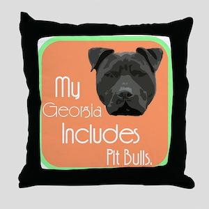My Georgia Includes Pit Bulls Throw Pillow