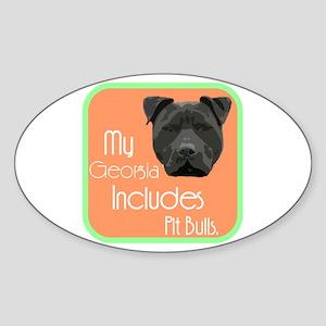 My Georgia Includes Pit Bulls Oval Sticker