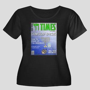 Chai Times Women's Plus Size Scoop Neck Dark T-Shi