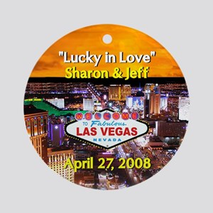 Lucky in Love Sharon & Jeff Ornament (Round)