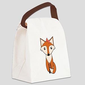 Cute Fox Wearing a Hair Bow Canvas Lunch Bag