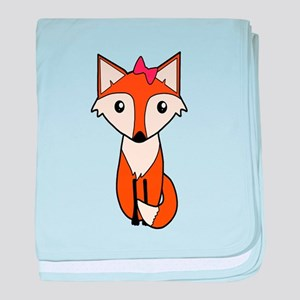 Cute Fox Wearing a Hair Bow baby blanket