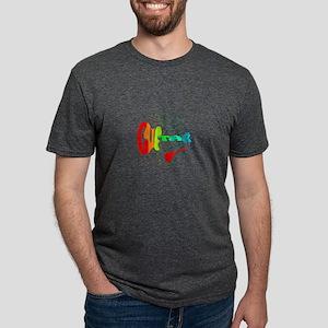guitar word red red stars Mens Tri-blend T-Shirt