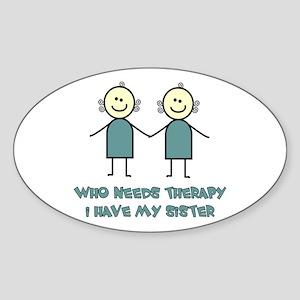 Sisters Fun Oval Sticker