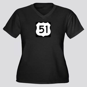 US Highway 51 Women's Plus Size V-Neck Dark T-Shir