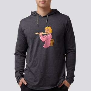 flute player lady pink shirt abstract Mens Hooded