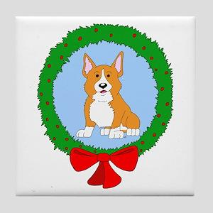 Pembroke Welsh Corgi Christmas Tile Coaster