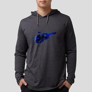 Violin and bow blue black Mens Hooded Shirt