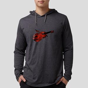 Violin and bow brown Mens Hooded Shirt